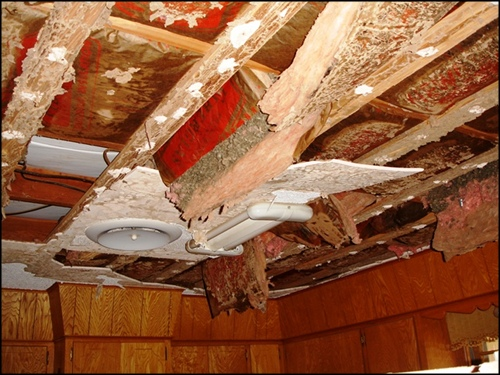 photo of extreme ceiling dmage